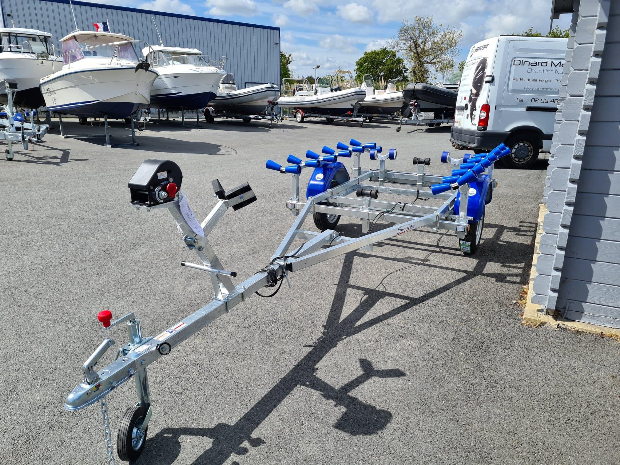 Attelage Timon Promotion remorque Sun Way SW265 PTAC 500 Kg spécial pneumatique